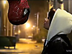 Passionate girl playing with cock of Spiderman