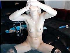 Extreme dildo deepthroat to puke blonde on webcam4