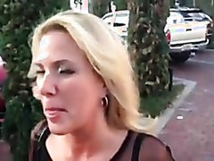 Wife walks in public with cum on her face