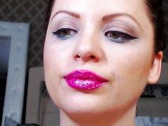 Pink lipstick spit