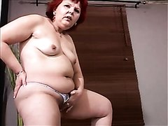 Mature mom loves armchair play and piss