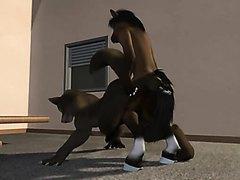 Horse Leg up fucks a Wolf!