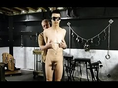 BDSM twink Marco tied up whipped and milked