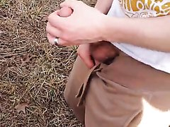 Cute lad wanks in the woods