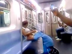 Black man performing nice cunnilingus in public