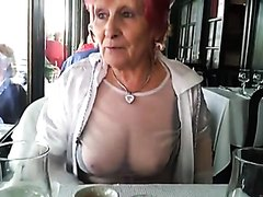 Busty milf flashing her pussy at a park