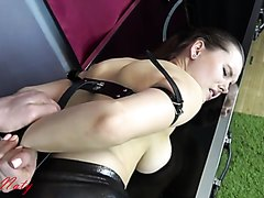 Good slave with tied hands gets throat fucked