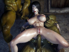 3D anal sex video with orc and white woman