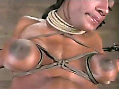 Fit black girl bound and pleasured by toys