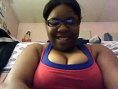 Nerdy black BBW amateur in webcam masturbation video