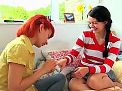 Teen kitty-friends have their first lesbian encounter