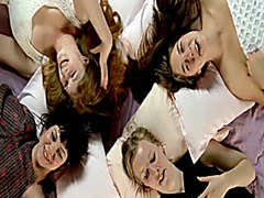Four girls at a slumber party moan as they masturbate