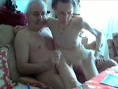 Skinny granny rides her husband in webcam show