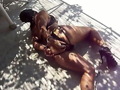 Kinky sub girl in leather used by her master