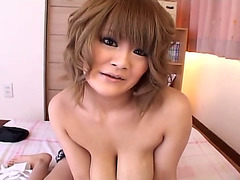 Big natural Japanese tits fucked by a dildo
