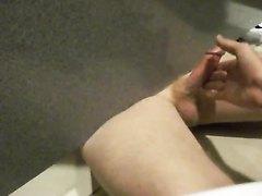 Public Restroom - Understall Handjob And Cum