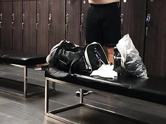 Silverdaddy changing in locker room