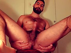 hairy guy busts a nut