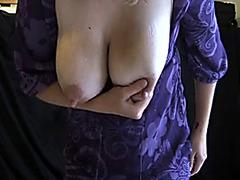 Blonde makes selfshot lactating titties porn