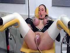 Kinky latex girl loves suction play and dildo fucking