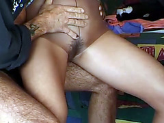 Girl in tight pantyhose pisses on her man and the ground