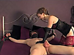 Kinky mistress teases his cock until he cums