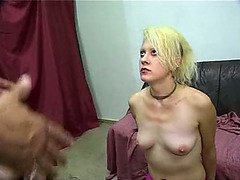 Blonde punk babe drinks piss from multiple guys