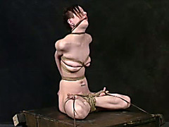 Young goth girl flashes in kinky bondage compilation