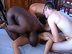 Swinger wife fucked in an interracial gangbang video