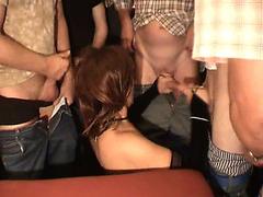 Two cum sluts take facials in orgy porn video