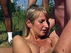 Skinny cum slut takes loads in the woods
