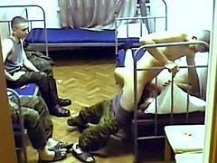 Russian soldiers take turns fucking a prostitute in the barracks