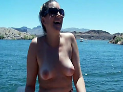 Outdoor orgy on a boat and pool side