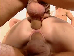 Blonde gets sweaty in double penetration porn with cumshots