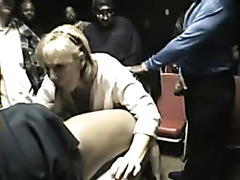 Amateur milf fucked in adult theater gangbang video