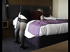 Fat ass wife in stockings fucked doggystyle