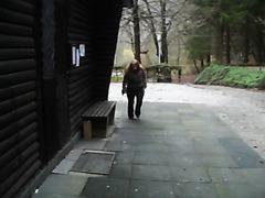 Curvy redhead pissing in public as I film it