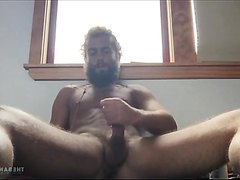 Handsome bearded man handjob and cumming