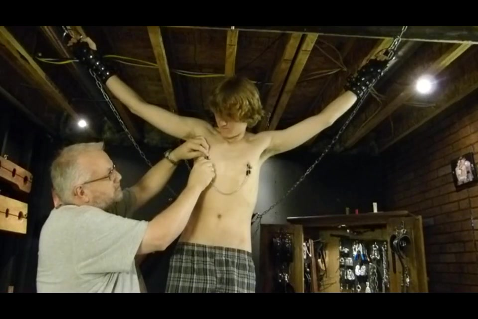 hot boy suspended naked  clamped and whipped