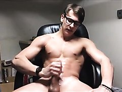 Handsome Muscle Stud Jerks and Cums