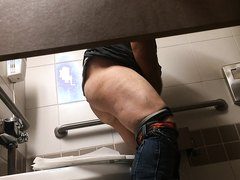 Men's toilet spy cam shitting