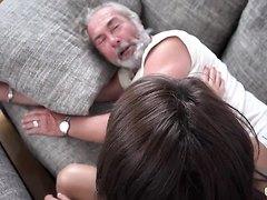 Beautiful girlfriends suck old man swallow, HD