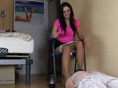 Stunning Mistress with piss slave drinking loads of champagne