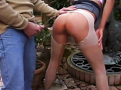 Nice pissing scene with curly hair girl in pantyhose
