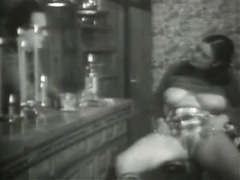 Vintage lady throws a glass of hot piss in his face