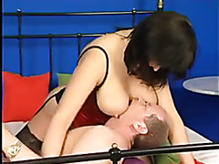 Milf in red satin lingerie has hardcore sex