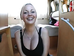 Euro blonde with huge boobs fucked on the train
