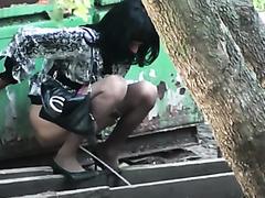 Ukrainian amateur girls in pantyhose filmed pissing outdoors