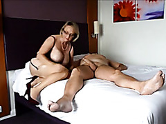 Busty wife in lingerie rides her husband