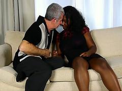 Curvy black girl rides his old white penis